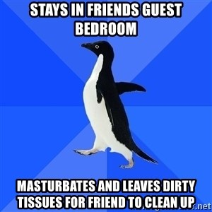 Socially Awkward Penguin - stays in friends guest bedroom masturbates and leaves dirty tissues for friend to clean up