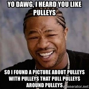 Yo Dawg - Yo DAWG, I HEARD YOU LIKE PULLEYS SO I FOUND A PICTURE ABOUT PULLEYS WITH PULLEYS THAT PULL PULLEYS AROUND PULLEYS