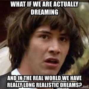 Conspiracy Keanu - what if we are actually dreaming and in the real world we have really long realistic dreams?