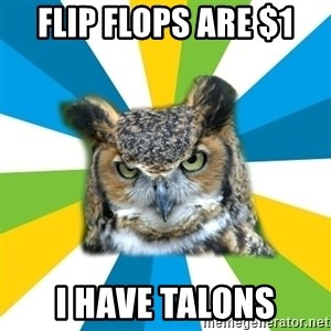 Old Navy Owl - Flip flops are $1 I have talons