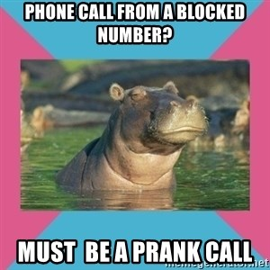 Skeptical hippo - Phone Call From A Blocked Number? Must  BE a PRank Call