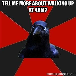 Gothiccrow - tell me more about walking up at 4am?