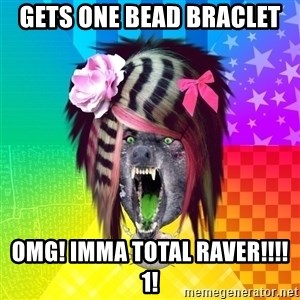 Insanity Scene Wolf - Gets One bead braclet OMg! imma total raver!!!!1!