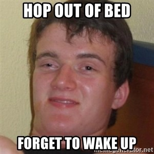 Stoner Guy - hop out of bed forget to wake up