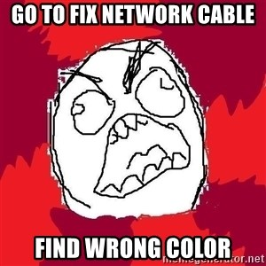 Rage FU - Go to fix network cable Find wrong color