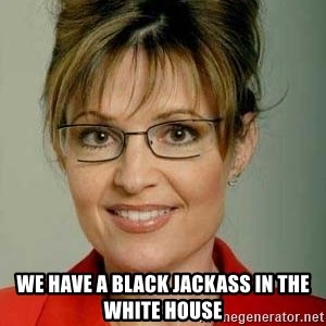 Sarah Palin - WE HAVE A BLACK JACKASS IN THE WHITE HOUSE