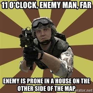 Arma 2 soldier - 11 o'clock, enemy man, far enemy is prone in a house on the other side of the map