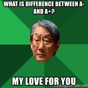 High Expectations Asian Father - WHAT IS DIFFERENCE BETWEEN A- AND A+? my love for you