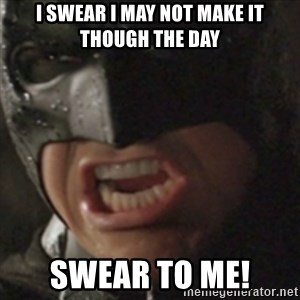 Batman Swear to Me - I swear i may not make it though the day swear to me!