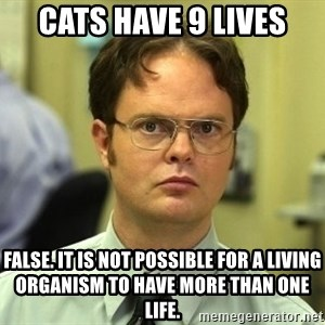 Dwight Schrute - Cats have 9 lives False. It is not possible for a living organism to have more than one life.