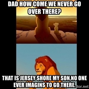 Lion King Shadowy Place - Dad how come we never go over there? That is jersey shore my son,no one ever imagins to go there.