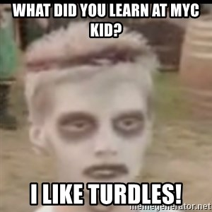 I like turtles  - What did you learn at myc kid? I LIKE TURDLES!