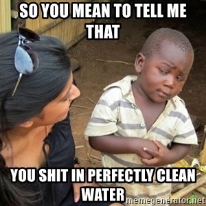 Skeptical 3rd World Kid - So you mean to tell me that you shit in perfectly clean water