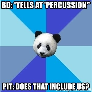 Pit Panda - bd: *YELLS AT 'PERCUSSION'* pIT: dOES THAT INCLUDE US?