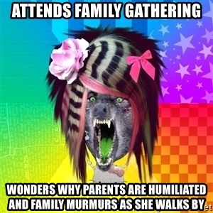 Insanity Scene Wolf - attends family gathering wonders why parents are humiliated and family murmurs as she walks by