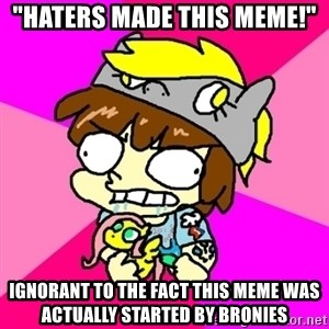 "rabid idiot brony - ""haters made this meme!"" ignorant to the fact this meme was actually started by bronies"