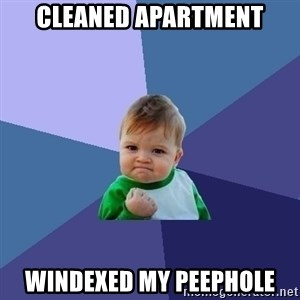 Success Kid - cleaned apartment windexed my peephole