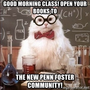 Chemist cat - Good Morning Class! Open your books to The new Penn Foster Community!