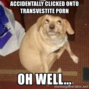 Oh You Dog - Accidentally clicked onto transvestite porn oh well...