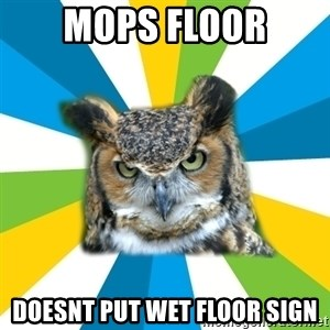 Old Navy Owl - mops floor doesnt put wet floor sign