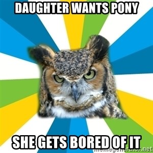Old Navy Owl - Daughter wants pony she gets bored of it