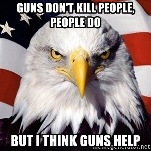American Pride Eagle - guns don't kill people, people do but i think guns help