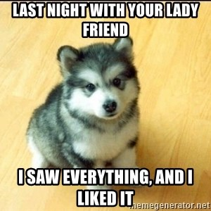 Baby Courage Wolf - last night with your lady friend i saw everything, and i liked it