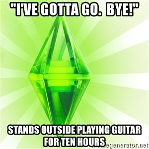 "Sims - ""I'VE GOTTA GO.  BYE!"" STANDS OUTSIDE PLAYING GUITAR FOR TEN HOURS"