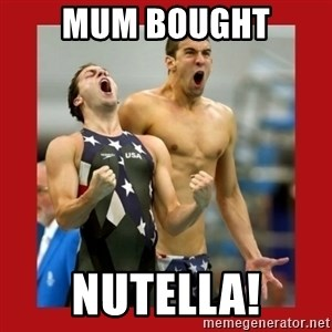 Ecstatic Michael Phelps - mum bought nutella!