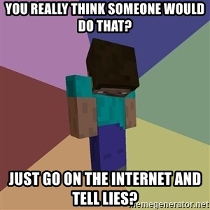 Depressed Minecraft Guy - You really think someone would do that? Just go on the internet and tell lies?