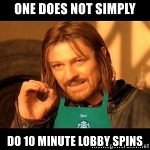 Barista Boromir - one does not simply do 10 minute lobby spins