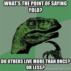 Philosoraptor - What's the point of saying YOLO? Do others live more than once? or less?
