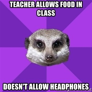 Misophonia Meerkat - teacher allows food in class doesn't allow headphones