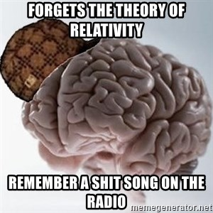 Scumbag Brain - forgets the theory of relativity remember a shit song on the radio