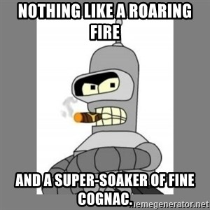 Futurama - Bender Bending Rodriguez - nothing like a roaring fire and a super-soaker of fine cognac.