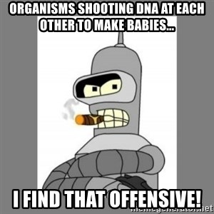 Futurama - Bender Bending Rodriguez - organisms shooting dna at each other to make babies... i find that offensive!