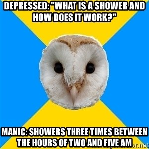 """Bipolar Owl - Depressed: """"What is a shower and how does it work?"""" Manic: showers three times between the hours of two and five am"""