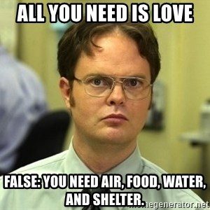 Dwight Schrute - ALL YOU NEED IS LOVE FALSE: YOU NEED air, food, water, and shelter.