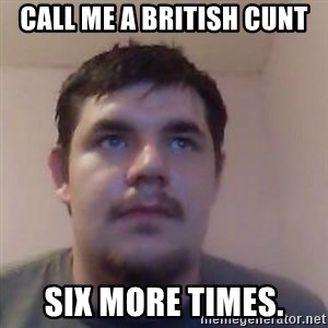 Ash the brit - call me a british cunt six more times.