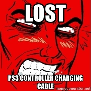 Rage Face - LOST PS3 Controller Charging Cable