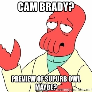 Why not zoidberg? - Cam Brady? Preview of Supurb owl maybe?