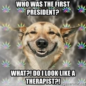 Stoner Dog - Who was the first president? WHAT?! DO I LOOK LIKE A THERAPIST?!