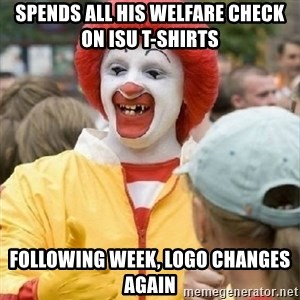 Clown Trololo - spends all his welfare check on isu t-shirts following week, logo changes again