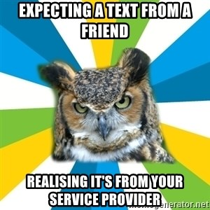 Old Navy Owl - Expecting A Text from a friend Realising it's from your service provider