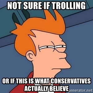 Futurama Fry - Not sure if trolling or if this is what conservatives actually believe