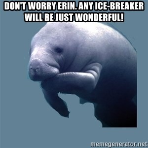 calming manatee - DON'T wORRY eRIN. aNY iCE-bREAKER WILL BE JUST WONDERFUL!