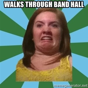 Disgusted Ginger - walks through Band hall