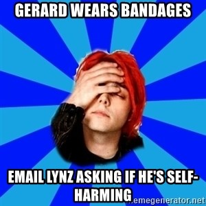 imforig - Gerard wears bandages EMAIL Lynz asking if he's self-harming