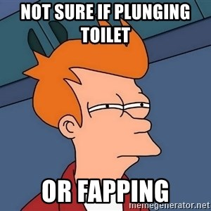 Futurama Fry - not sure if plunging toilet    or fapping