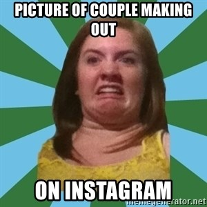 Disgusted Ginger - picture of couple making out on instagram